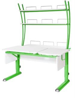 Парта для дома Астек ТВИН-2 с надстройкой (Цвет столешницы:Белый, Цвет ножек стола:Зеленый) - фото 23454