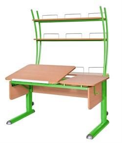 Парта для дома Астек ТВИН-2 с надстройкой (Цвет столешницы:Бук, Цвет ножек стола:Зеленый) - фото 23457