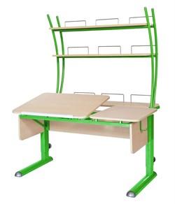 Парта для дома Астек ТВИН-2 с надстройкой (Цвет столешницы:Береза, Цвет ножек стола:Зеленый) - фото 23460