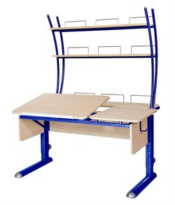 Парта для дома Астек ТВИН-2 с надстройкой (Цвет столешницы:Береза, Цвет ножек стола:Синий) - фото 23463