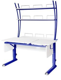 Парта для дома Астек ТВИН-2 с надстройкой (Цвет столешницы:Белый, Цвет ножек стола:Синий) - фото 23469