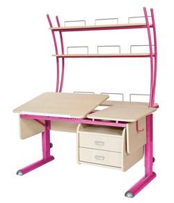 Парта для дома Астек ТВИН-2 с надстройкой и тумбой (Цвет столешницы:Береза, Цвет ножек стола:Розовый) - фото 23482