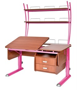 Парта для дома Астек ТВИН-2 с надстройкой и тумбой (Цвет столешницы:Яблоня, Цвет ножек стола:Розовый) - фото 23504