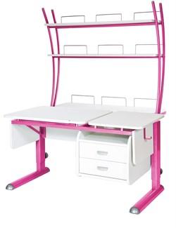 Парта для дома Астек ТВИН-2 с надстройкой и тумбой (Цвет столешницы:Белый, Цвет ножек стола:Розовый) - фото 23508