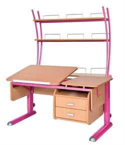 Парта для дома Астек ТВИН-2 с надстройкой и тумбой (Цвет столешницы:Бук, Цвет ножек стола:Розовый) - фото 23512