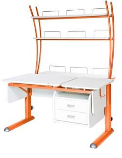 Парта для дома Астек ТВИН-2 с надстройкой и тумбой (Цвет столешницы:Белый, Цвет ножек стола:Оранжевый) - фото 23520