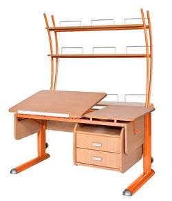 Парта для дома Астек ТВИН-2 с надстройкой и тумбой (Цвет столешницы:Бук, Цвет ножек стола:Оранжевый) - фото 23524