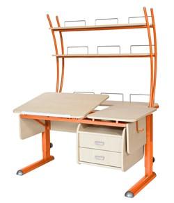 Парта для дома Астек ТВИН-2 с надстройкой и тумбой (Цвет столешницы:Береза, Цвет ножек стола:Оранжевый) - фото 23528