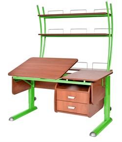 Парта для дома Астек ТВИН-2 с надстройкой и тумбой (Цвет столешницы:Яблоня, Цвет ножек стола:Зеленый) - фото 23532