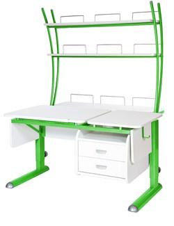 Парта для дома Астек ТВИН-2 с надстройкой и тумбой (Цвет столешницы:Белый, Цвет ножек стола:Зеленый) - фото 23536