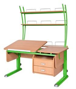 Парта для дома Астек ТВИН-2 с надстройкой и тумбой (Цвет столешницы:Бук, Цвет ножек стола:Зеленый) - фото 23540