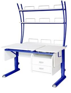 Парта для дома Астек ТВИН-2 с надстройкой и тумбой (Цвет столешницы:Белый, Цвет ножек стола:Синий) - фото 23552