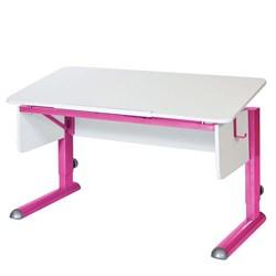 Парта для школьника для дома Астек МОНО-2 (Цвет столешницы:Белый, Цвет ножек стола:Розовый) - фото 23583
