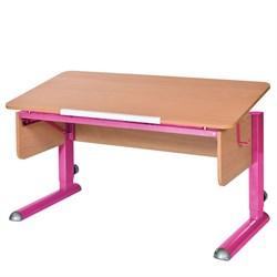 Парта для школьника для дома Астек МОНО-2 (Цвет столешницы:Бук, Цвет ножек стола:Розовый) - фото 23586