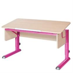 Парта для школьника для дома Астек МОНО-2 (Цвет столешницы:Береза, Цвет ножек стола:Розовый) - фото 23589