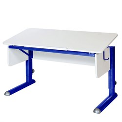 Парта для школьника для дома Астек МОНО-2 (Цвет столешницы:Белый, Цвет ножек стола:Синий) - фото 23613