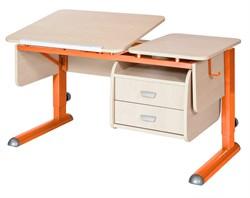 Парта для дома Астек ТВИН-2 с подвесной тумбой (Цвет столешницы:Береза, Цвет ножек стола:Оранжевый) - фото 23636