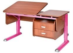Парта для дома Астек ТВИН-2 с подвесной тумбой (Цвет столешницы:Яблоня, Цвет ножек стола:Розовый) - фото 23639