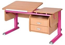Парта для дома Астек ТВИН-2 с подвесной тумбой (Цвет столешницы:Бук, Цвет ножек стола:Розовый) - фото 23642