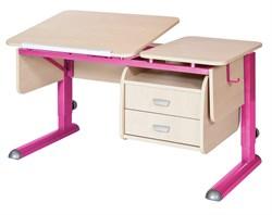 Парта для дома Астек ТВИН-2 с подвесной тумбой (Цвет столешницы:Береза, Цвет ножек стола:Розовый) - фото 23645