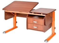Парта для дома Астек ТВИН-2 с подвесной тумбой (Цвет столешницы:Яблоня, Цвет ножек стола:Оранжевый) - фото 23648