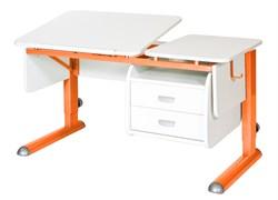 Парта для дома Астек ТВИН-2 с подвесной тумбой (Цвет столешницы:Белый, Цвет ножек стола:Оранжевый) - фото 23651
