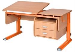 Парта для дома Астек ТВИН-2 с подвесной тумбой (Цвет столешницы:Бук, Цвет ножек стола:Оранжевый) - фото 23654