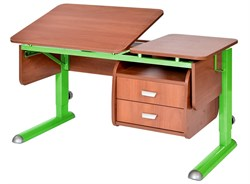 Парта для дома Астек ТВИН-2 с подвесной тумбой (Цвет столешницы:Яблоня, Цвет ножек стола:Зеленый) - фото 23657