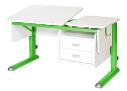 Парта для дома Астек ТВИН-2 с подвесной тумбой (Цвет столешницы:Белый, Цвет ножек стола:Зеленый) - фото 23660