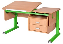 Парта для дома Астек ТВИН-2 с подвесной тумбой (Цвет столешницы:Бук, Цвет ножек стола:Зеленый) - фото 23663