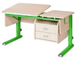 Парта для дома Астек ТВИН-2 с подвесной тумбой (Цвет столешницы:Береза, Цвет ножек стола:Зеленый) - фото 23666