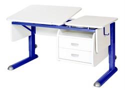 Парта для дома Астек ТВИН-2 с подвесной тумбой (Цвет столешницы:Белый, Цвет ножек стола:Синий) - фото 23672