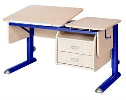 Парта для дома Астек ТВИН-2 с подвесной тумбой (Цвет столешницы:Береза, Цвет ножек стола:Синий) - фото 23678