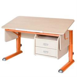 Парта для школьника для дома Астек МОНО-2 с тумбой (Цвет столешницы:Береза, Цвет ножек стола:Оранжевый) - фото 23692