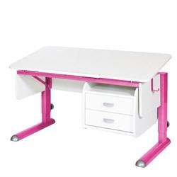 Парта для школьника для дома Астек МОНО-2 с тумбой (Цвет столешницы:Белый, Цвет ножек стола:Розовый) - фото 23698