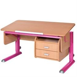 Парта для школьника для дома Астек МОНО-2 с тумбой (Цвет столешницы:Бук, Цвет ножек стола:Розовый) - фото 23700