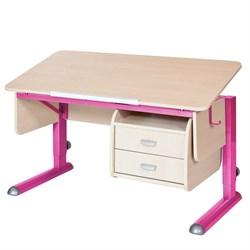 Парта для школьника для дома Астек МОНО-2 с тумбой (Цвет столешницы:Береза, Цвет ножек стола:Розовый) - фото 23703