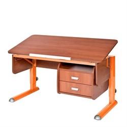 Парта для школьника для дома Астек МОНО-2 с тумбой (Цвет столешницы:Яблоня, Цвет ножек стола:Оранжевый) - фото 23706