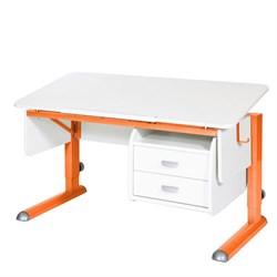 Парта для школьника для дома Астек МОНО-2 с тумбой (Цвет столешницы:Белый, Цвет ножек стола:Оранжевый) - фото 23709