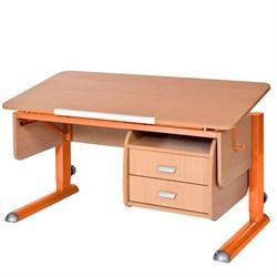 Парта для школьника для дома Астек МОНО-2 с тумбой (Цвет столешницы:Бук, Цвет ножек стола:Оранжевый) - фото 23712