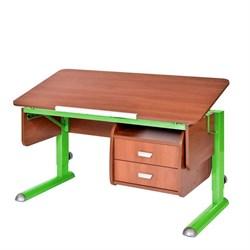 Парта для школьника для дома Астек МОНО-2 с тумбой (Цвет столешницы:Яблоня, Цвет ножек стола:Зеленый) - фото 23715