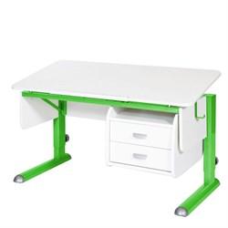 Парта для школьника для дома Астек МОНО-2 с тумбой (Цвет столешницы:Белый, Цвет ножек стола:Зеленый) - фото 23718
