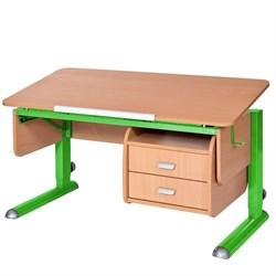 Парта для школьника для дома Астек МОНО-2 с тумбой (Цвет столешницы:Бук, Цвет ножек стола:Зеленый) - фото 23721
