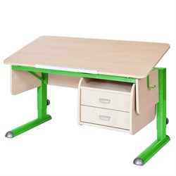 Парта для школьника для дома Астек МОНО-2 с тумбой (Цвет столешницы:Береза, Цвет ножек стола:Зеленый) - фото 23724