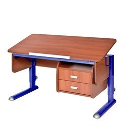 Парта для школьника для дома Астек МОНО-2 с тумбой (Цвет столешницы:Яблоня, Цвет ножек стола:Синий) - фото 23727