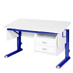 Парта для школьника для дома Астек МОНО-2 с тумбой (Цвет столешницы:Белый, Цвет ножек стола:Синий) - фото 23730