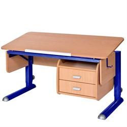 Парта для школьника для дома Астек МОНО-2 с тумбой (Цвет столешницы:Бук, Цвет ножек стола:Синий) - фото 23733