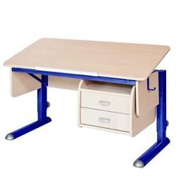 Парта для школьника для дома Астек МОНО-2 с тумбой (Цвет столешницы:Береза, Цвет ножек стола:Синий) - фото 23736