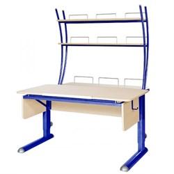 Парта для школьника для дома Астек МОНО-2 с надстройкой (Цвет столешницы:Береза, Цвет ножек стола:Синий) - фото 23750