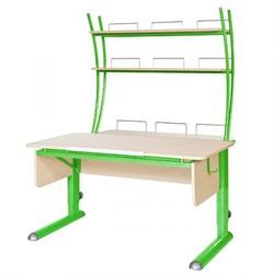 Парта для школьника для дома Астек МОНО-2 с надстройкой (Цвет столешницы:Береза, Цвет ножек стола:Зеленый) - фото 23753